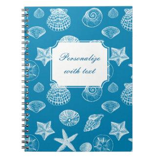 Nautical Beach Shells Aqua White Notebooks