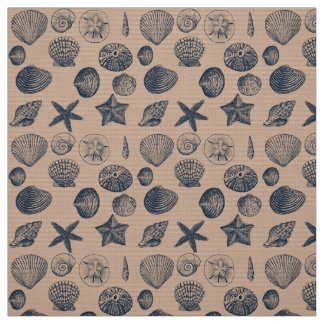 Nautical Beach Shells Fabric