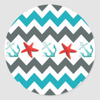Nautical Beach Theme Chevron Anchors Starfish Classic Round Sticker
