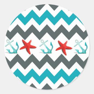 Nautical Beach Theme Chevron Anchors Starfish Round Sticker