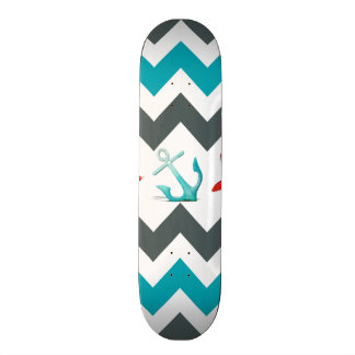 Nautical Beach Theme Chevron Anchors Starfish Skateboard