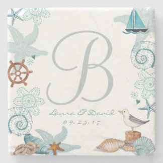 Nautical Beach Wedding | Custom Marble Coaster