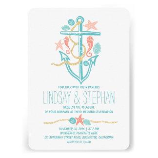 Nautical beach wedding invitations personalized announcement