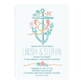 "Nautical beach wedding invitations 5"" x 7"" invitation card"