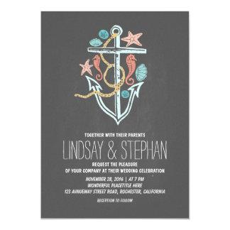 "Nautical beach wedding invitations - chalkboard 5"" x 7"" invitation card"