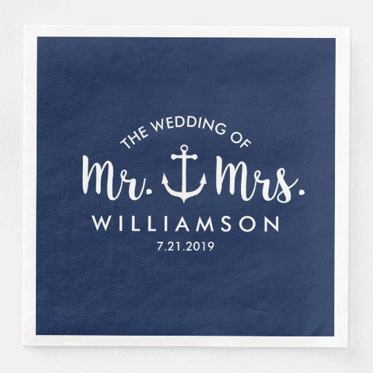 Nautical Beach Wedding Navy Blue Anchor Custom Paper Napkin
