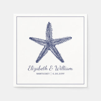 Nautical Beach Wedding Rustic Navy Blue Starfish Paper Serviettes