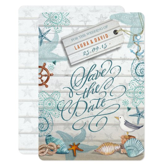 Nautical Beach Wedding | Save the Date Card