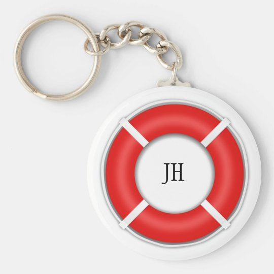 Nautical BeachBoat Life Preserver Optional Initial Key Ring