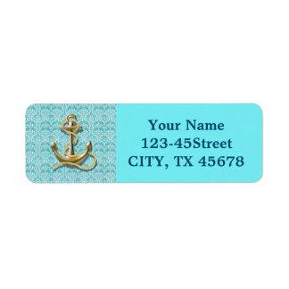 nautical beachy turquoise damask gold anchor