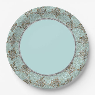 Nautical-Beauty_Sea-Glass_Rope_(c)Blue-Gray Unisex 9 Inch Paper Plate