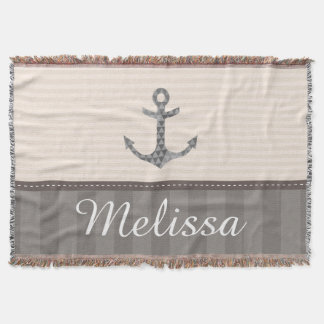 Nautical Beige and Brown Anchor Custom Name
