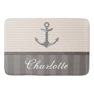 Nautical Beige and Brown Anchor Custom Name Bath Mat