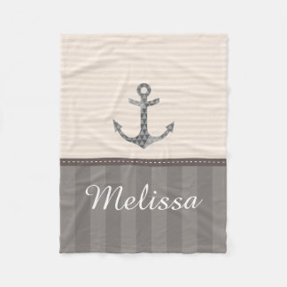 Nautical Beige and Brown Anchor Custom Name Fleece Blanket
