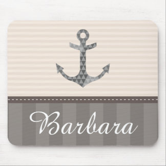 Nautical Beige and Brown Anchor Custom Name Mouse Mat