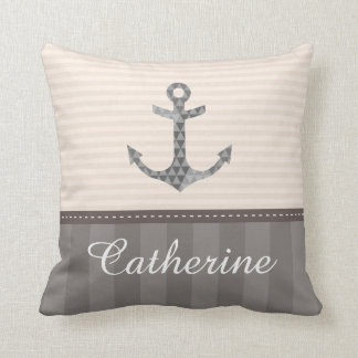 Nautical Beige and Brown  Anchor Custom Name Throw Pillow