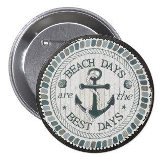 Nautical Best Day Burlap Beach Round Button 3 Inch Round Button