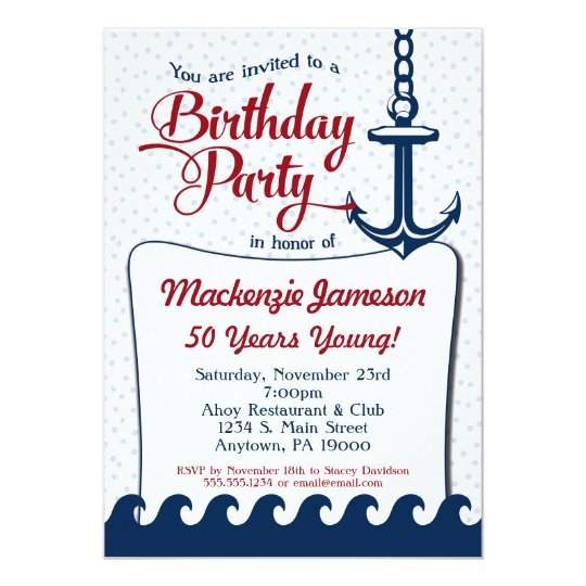 Nautical Birthday Invitation Adult Men Ladies
