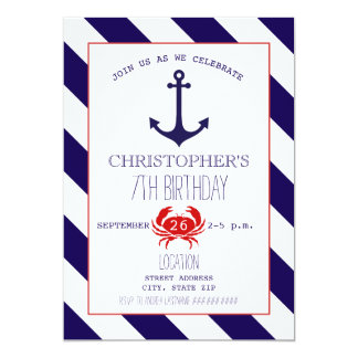 Nautical Birthday Party - Anchor + Crab Card