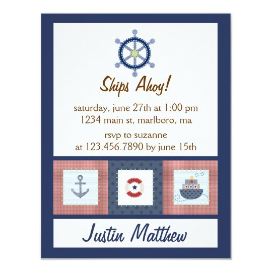 Nautical Birthday Party Card