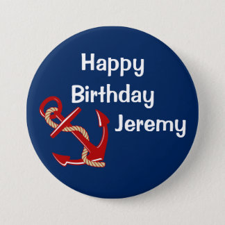 Nautical Birthday Personalized 7.5 Cm Round Badge