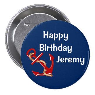 Nautical Birthday Personalized Pinback Button