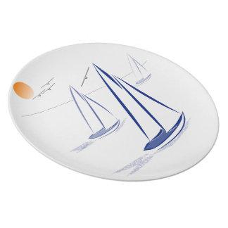 Nautical Bits Coastal Sailing Yachts Dinner Plate