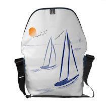 Nautical Bits Coastal Sailing Yachts Messenger Bags