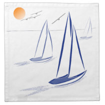 Nautical Bits Coastal Sailing Yachts Printed Napkin