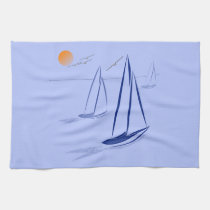 Nautical Bits Coastal Sailing Yachts Tea Towel