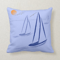 Nautical Bits Coastal Sailing Yachts Throw Pillow