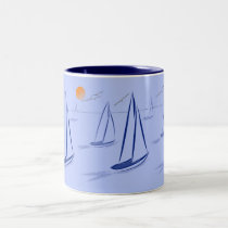 Nautical Bits Coastal Sailing Yachts Two-Tone Coffee Mug