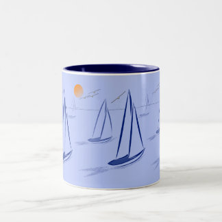 Nautical Bits Coastal Sailing Yachts Two-Tone Coffee Mug