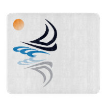 Nautical Bits Sailing Yacht with Reflection Cutting Board