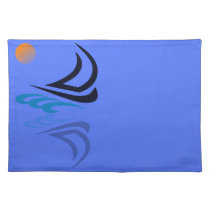 Nautical Bits Sailing Yacht with Reflection Placemat
