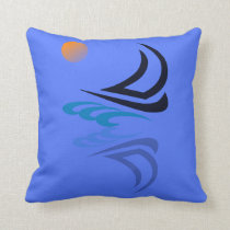 Nautical Bits Sailing Yacht with Reflection Throw Pillow