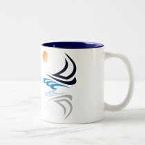 Nautical Bits Sailing Yacht with Reflection Two-Tone Coffee Mug