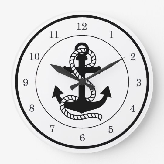 Nautical Black Anchor {pick your colour} Large Clock