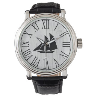 Nautical Black Sailboat & Faux Wood Planks Watch