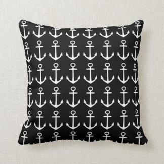 Nautical black throw pillow