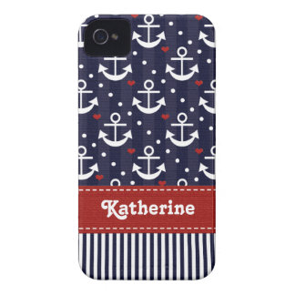 Nautical BlackBerry Bold Case Red Ribbon