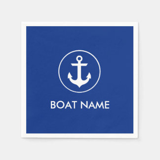 Nautical Blue Anchor Boat Name Cocktail Napkins Disposable Napkins