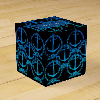 Nautical Blue Anchor Motif Cube Favor Box Party Favour Box