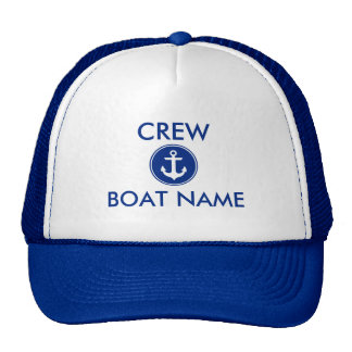 Nautical Blue Anchor Personalised Boat Crew Hat