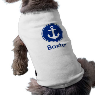 Nautical Blue Anchor Personalised Dog Shirt