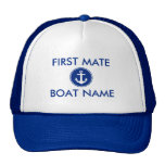 Nautical Blue Anchor Personalised First Mate Hat