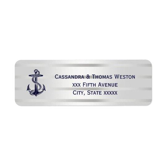 Nautical Blue Anchor Silver Wht Retn Address Label