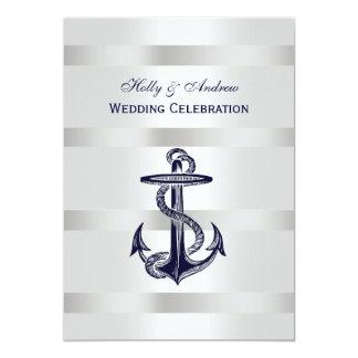 Nautical Blue Anchor Silver Wt BG V Wedding 13 Cm X 18 Cm Invitation Card