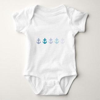 Nautical Blue Anchors Design Baby Bodysuit