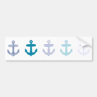 Nautical Blue Anchors Design Bumper Sticker
